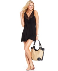 Kenneth Cole Reaction Crochet Top Tunic Cover Up Women's Swimsuit Black