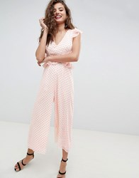 Asos Design Cut Out Jumpsuit With Soft Ruffles In Neon Spot Neon Spot Multi