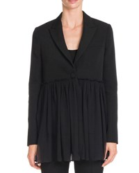 Givenchy Blazer W Pleated Chiffon Bottom Black