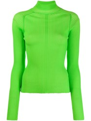 Acne Studios Ribbed Polo Neck Sweater Green