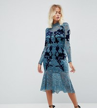 Hope And Ivy Long Sleeve Lace Dress With Velvet Applique Detail Teal Green