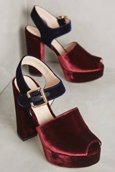 Anthropologie Deimille Maddy Platform Sandals Wine