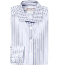 Turnbull And Asser Striped Slim Fit Cotton Shirt Purple