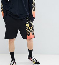 Reclaimed Vintage Inspired Jersey Shorts With Flame Print Black