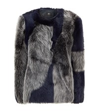 7 For All Mankind Patchwork Shearling Jacket Grey