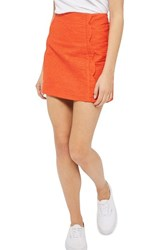 Topshop Women's Textured Scallop Front Miniskirt Orange