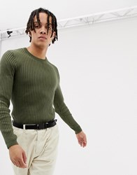 Your Turn Yourturn Ribbed Crew Neck Jumper In Olive Green
