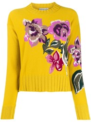 Ballantyne Floral Knit Jumper Yellow