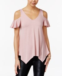 Almost Famous Juniors' Ruffle Sleeve Cold Shoulder Top Dusty Pink