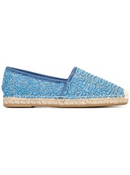 Ermanno Scervino Embroidered Espadrilles Blue