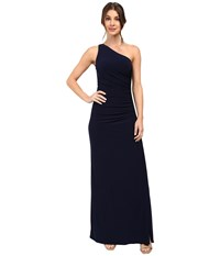 Laundry By Shelli Segal One Shoulder Sleeveless Gown W Side Sequins Ink Blot Women's Dress Navy