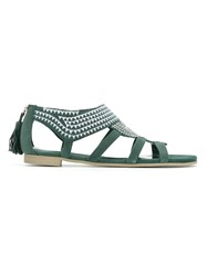 Sarah Chofakian Embroidered Flat Sandals Green