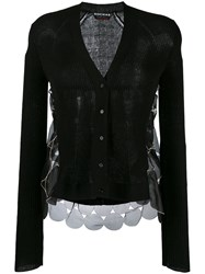 Rochas Layered Sheer Sides Cardigan Black