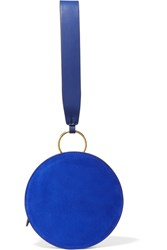 Diane Von Furstenberg Circle Leather And Suede Clutch Royal Blue