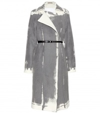 Bottega Veneta Printed Wool And Cashmere Blend Coat Grey