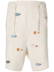 Henrik Vibskov Embroidered Sleepers Shorts Nude And Neutrals