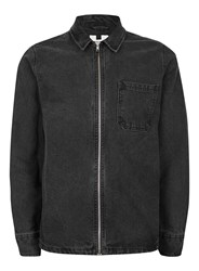 Topman Men's Long Sleeve Denim Zip Through Overshirt Black