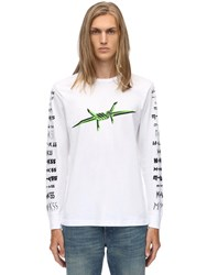 Diesel Printed L S Cotton Jersey T Shirt White