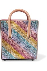 Christian Louboutin Paloma Nano Embellished Metallic Textured Leather Tote Pink