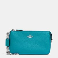 Coach Nolita Wristlet 19 In Pebble Leather Silver Turquoise