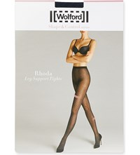Wolford Rhoda Patterned Leg Support Tights Midnight