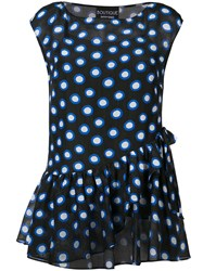 Boutique Moschino Sleeveless Polka Dot Blouse Black