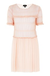 Topshop Tulle Ruche Tunic Pink