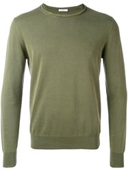 Paolo Pecora Slashed Crew Neck Jumper Men Cotton Xs Green