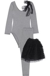 Red Valentino Striped Stretch Cotton Jersey And Swiss Dot Tulle Top Leggings And Tutu Set Black