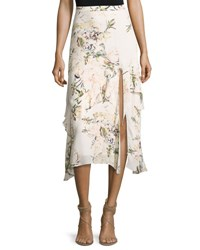 Haute Hippie The Garden Floral Silk Midi Skirt White White Pattern