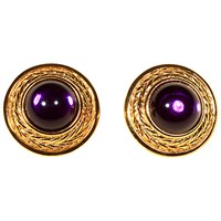 Alice Joseph Vintage Trifari Gold Plated Glass Stone Stud Earrings Gold Purple