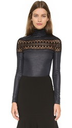 Yigal Azrouel Lace Insert Top Jet Multi