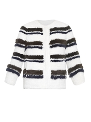 Sonia Rykiel Rell Striped Fur Jacket