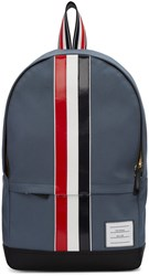 Thom Browne Grey Canvas Stripe Backpack