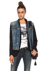 R 13 R13 Layered Denim Vest And Wool Jacket In Blue Black