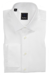 David Donahue Horizontal Twill Regular Fit Tuxedo Shirt White