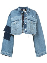 Natasha Zinko Mixed Crop Denim Jacket Blue