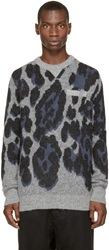 Sacai Grey And Blue Leopard Print Sweater
