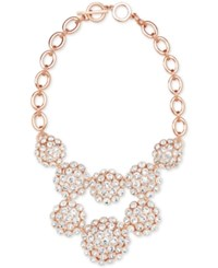 Anne Klein Rose Gold Tone Domed Crystal Cluster Statement Necklace