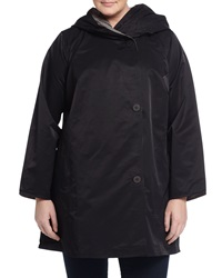 Eileen Fisher Plus Reversible Hooded Asymmetric Coat Black