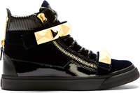 Giuseppe Zanotti Navy Velvet Studded High Top Veronica Sneakers