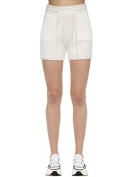 Falke Linen And Silk Blend Milano Knit Shorts Offwhite