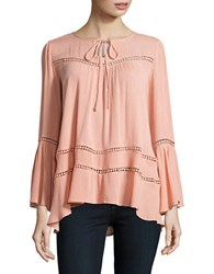 Design Lab Lord And Taylor Flared Sleeve Hi Lo Cutout Blouse Blush
