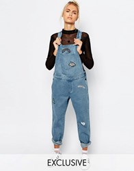 Lazy Oaf Dungarees With Patch Detail Blue