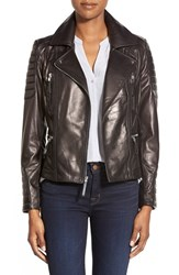Women's Vince Camuto Lambskin Leather Moto Jacket Black