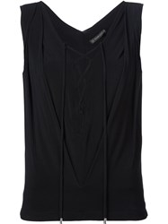 Plein Sud Jeans Plein Sud Lace Up Neck Sleeveless Top Black