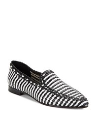 Kate Spade Caylee Woven Leather Loafers Black White