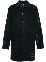 Haculla Skribble Trench Coat Polyester Wool Black