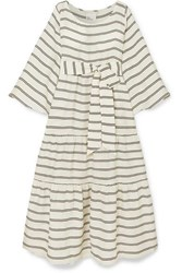 Lisa Marie Fernandez Belted Tiered Striped Voile Maxi Dress White