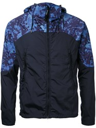 C.P. Company Cp Printed Shoulders Hooded Jacket Blue